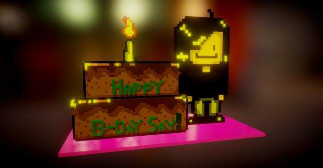 Say Birthday Voxel Edition w/ Mocha choco cake! 3D Model