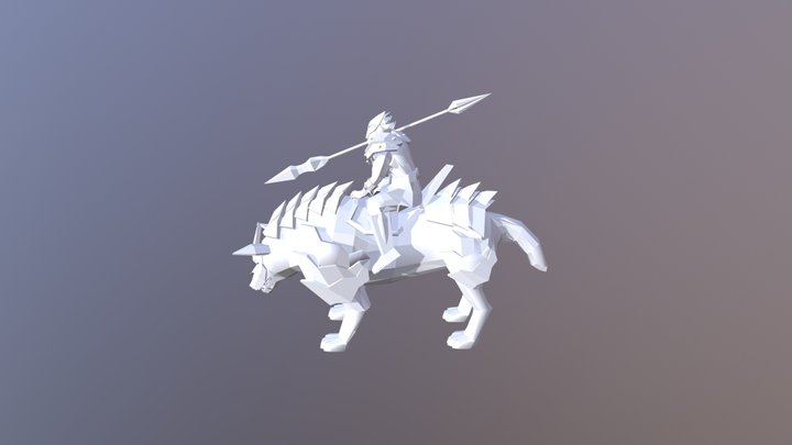 Low Poly Wolf Rider 3D Model
