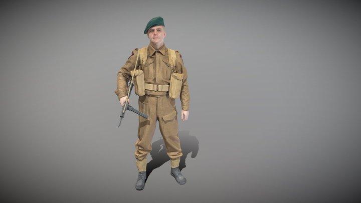 British commando character from World War 2 43 3D Model