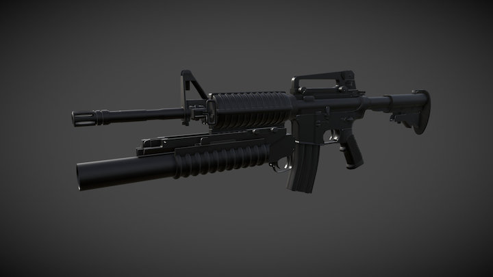 M4 Carbine with M203 Grenade Launcher 3D Model