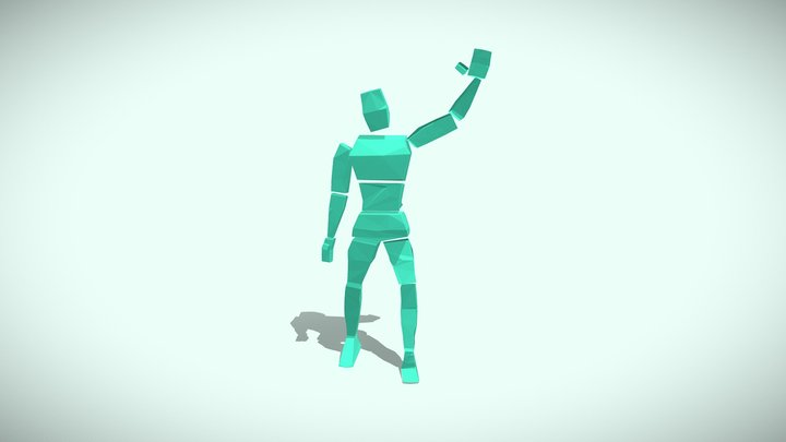 Low Poly Glass Character 3D Model