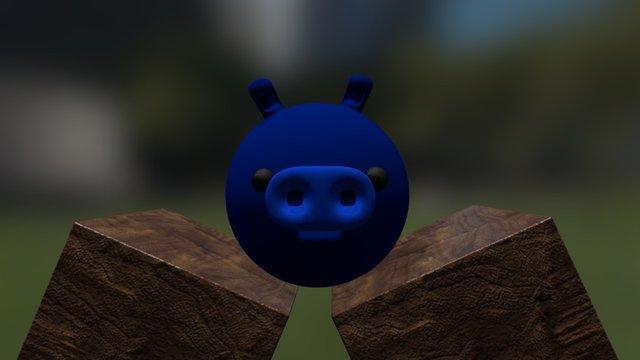A Blue Pig 3D Model