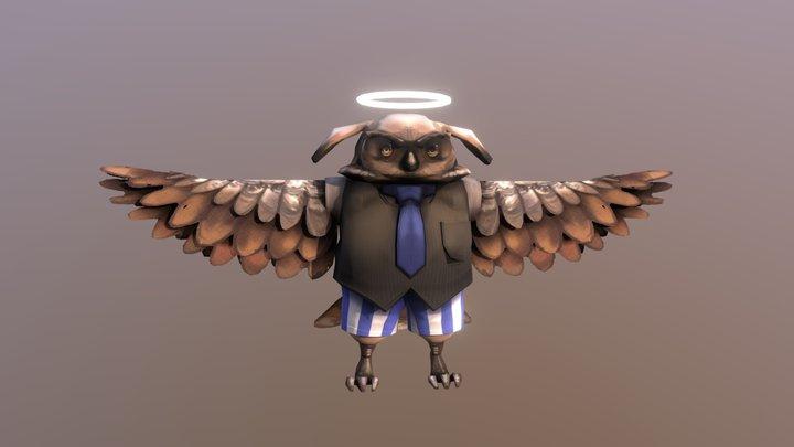 Grumpy Owl Angel 3D Model