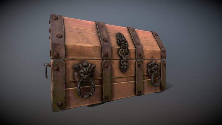Old Wood Chest 3D Model
