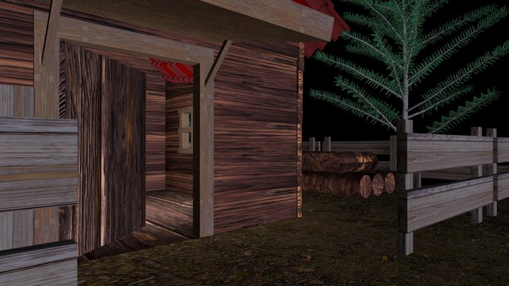 Tiny Cabin in the Woods 3D Model