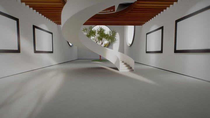 VR Art Gallery Circles 2020 4k Corona Max Scene 3D Model