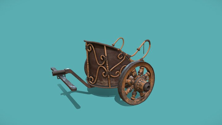 Roman Chariot (Game Ready-PBR) 3D Model