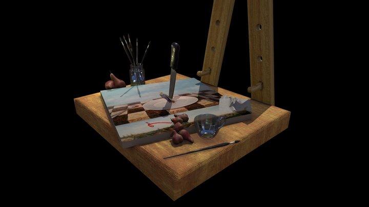 A painter's work space 3D Model