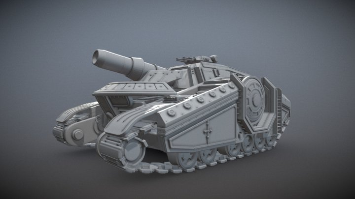 Scifi Gothic Artillery Tank 3D Model