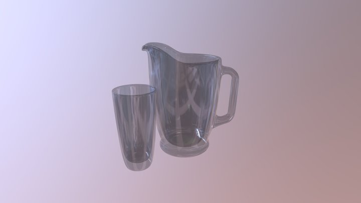 Glass pitcher and drinkware set 3D Model