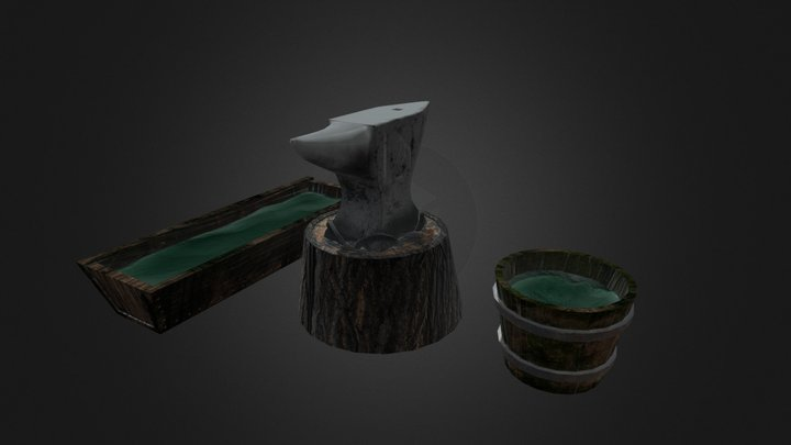 Anvil, Water Bucket And Water Trough 3D Model