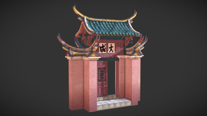 Chinese temple gate 3D Model
