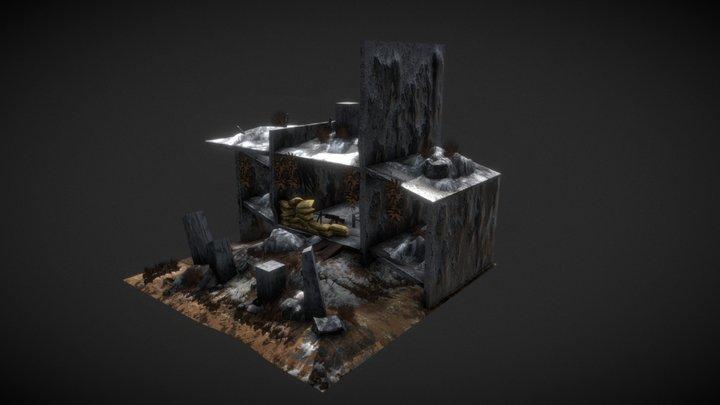 Post Apocalyptic Machine Gunner nest 3D Model