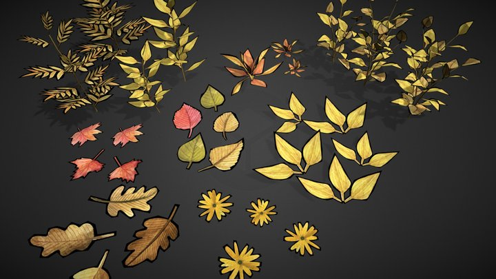 Freestyle leaves 3D Model