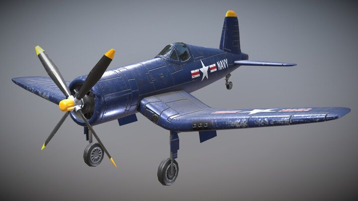 WW2 US Carrier-Based Fighter F4U Corsair 3D Model