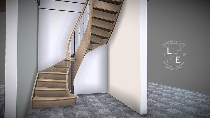 Landelijke eiken trap met gebogen binnenwang 3D Model