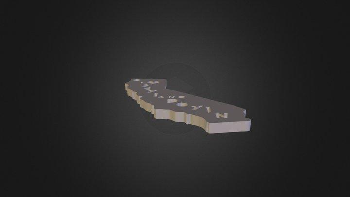 CALI I Heart Template Cutout 3D Model