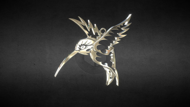 Tribal Hummingbird Pendant 3D Model