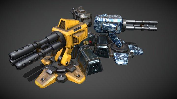 Low Poly PBR Gateling Guns L1 L2 L3 3D Model