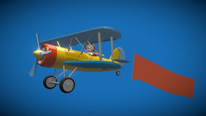 Cartoon biplane 3D Model