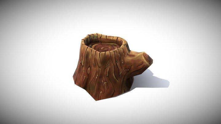 Hand painted Tree Stump 3D Model