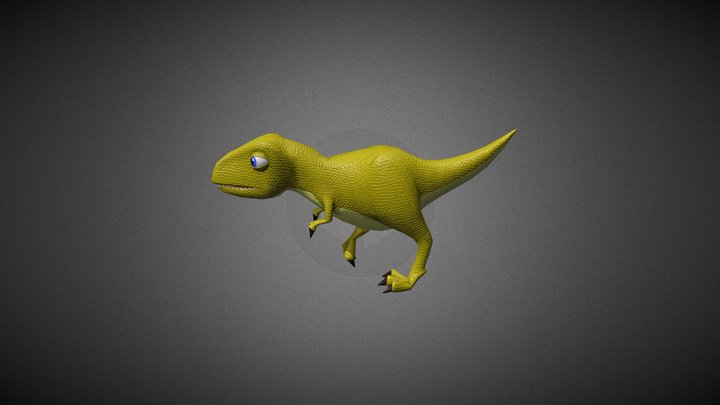 Animated cartoon T- Rex 3D Model
