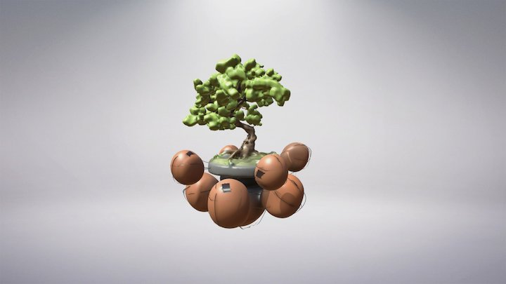 Floating Island Bonsai Tree 3D Model