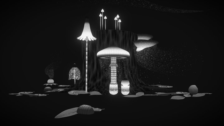 Mushroom spores dance 3D Model
