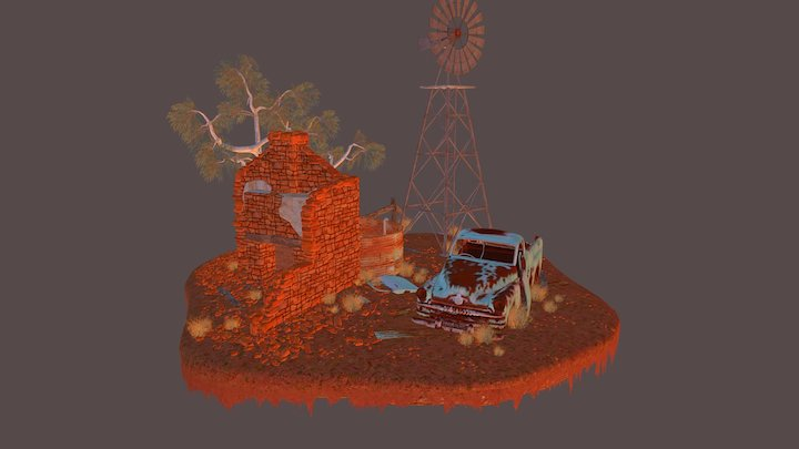 Aussie Outback Ruins 3D Model