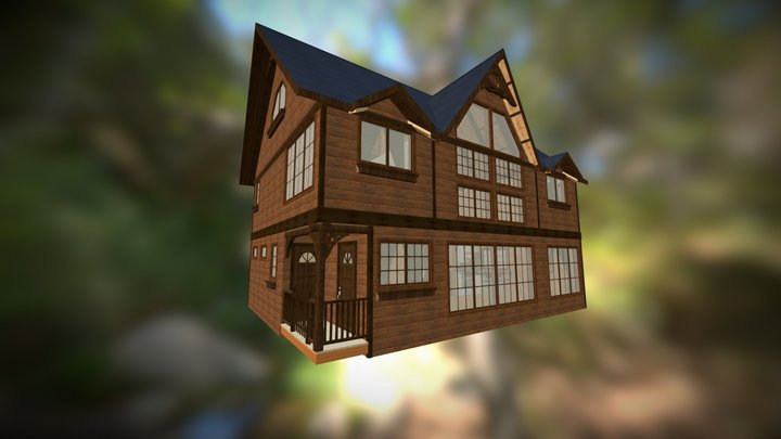 Dacha.v2 w/o garage, whole house model 3D Model