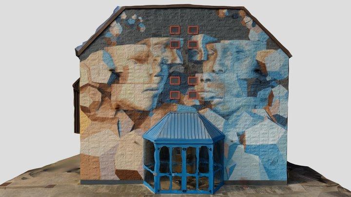 Murales on the side of Multipurpose Theater 3D Model