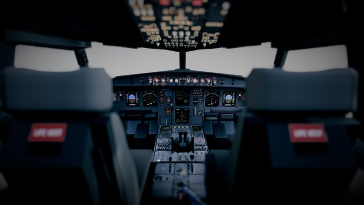 (Airbus A320) Airplane Cockpit 3D Model