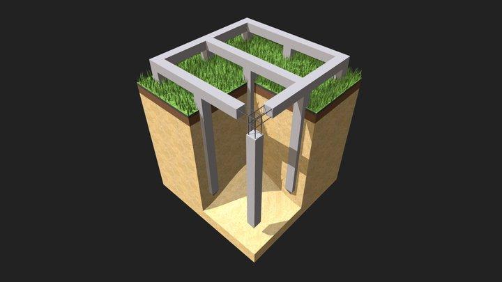 Свайно-ростверковый 3D Model