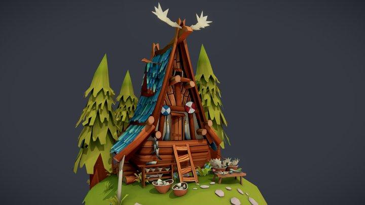 Viking bone carver house 3D Model
