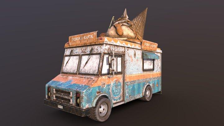 Old Ice Cream Truck 3D Model