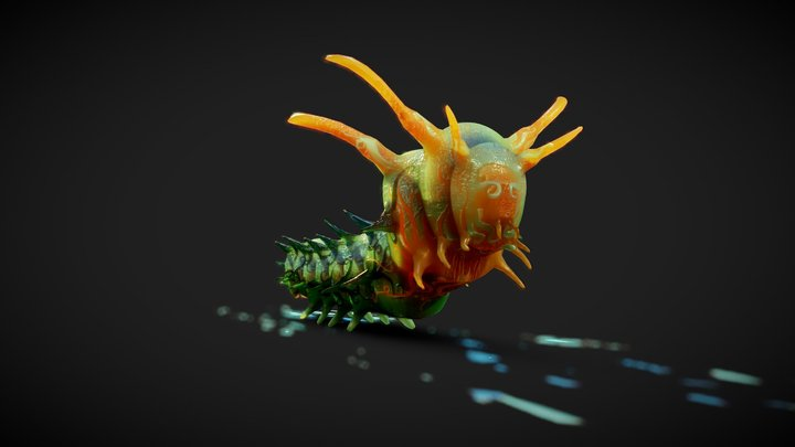 Horned Devil Caterpillar Alternative Style 3D Model
