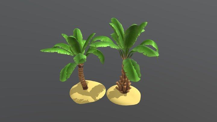 banana trees cartoon style 3D Model