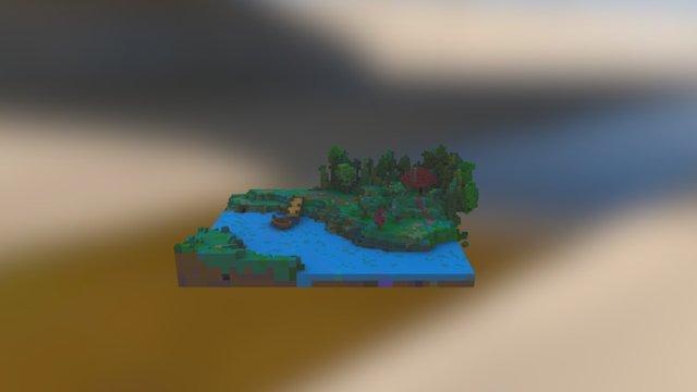 Voxel River Tile 3D Model