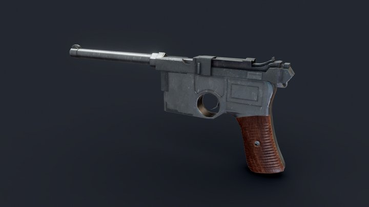 German Pistol Game-Ready Low-poly 3d model 3D Model