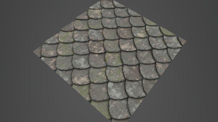 Mossy Roof Tile 3D Model