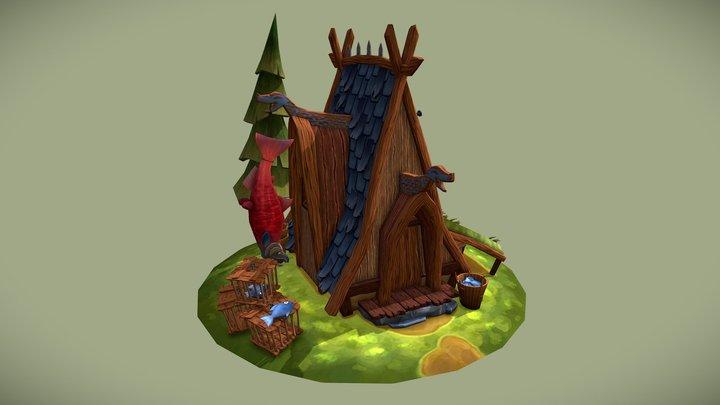 Stylized Viking Fisherman's Hut 3D Model