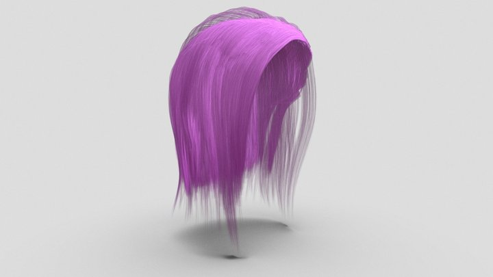 Mid-length Hair for Character 3D Model