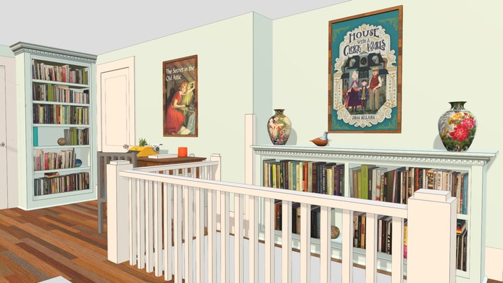 Two blue bookcases in a hallway v1 3D Model