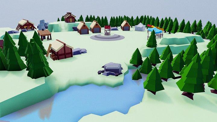 Riverside Village Scene 3D Model