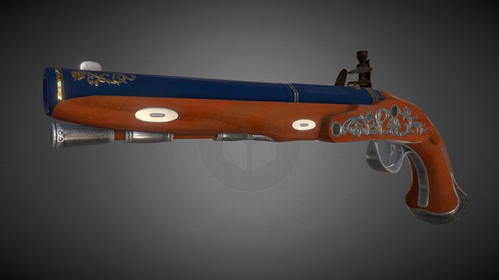 Gentlemans' Flintlock Pistol, Game Asset 3D Model