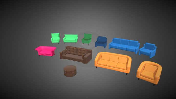 Home Sofa Furniture Cartoon Simple Style 3D Model