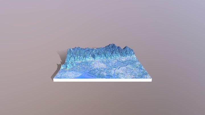 縄文早期 東名遺跡付近の地形 地理院地図3Dモデル 3D Model