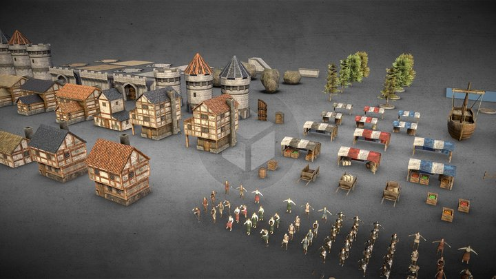 Medieval City Low Poly PBR Pack 3D Model