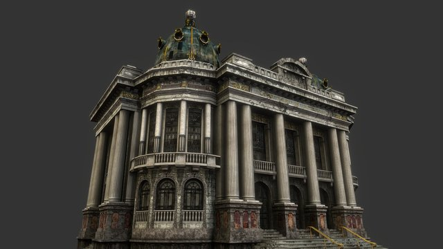 Theatro Municipal - Mobile Game Facade 3D Model