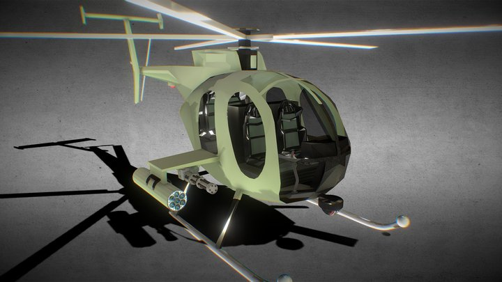 MH-6 Little Bird Helicopter Animated 3D Model